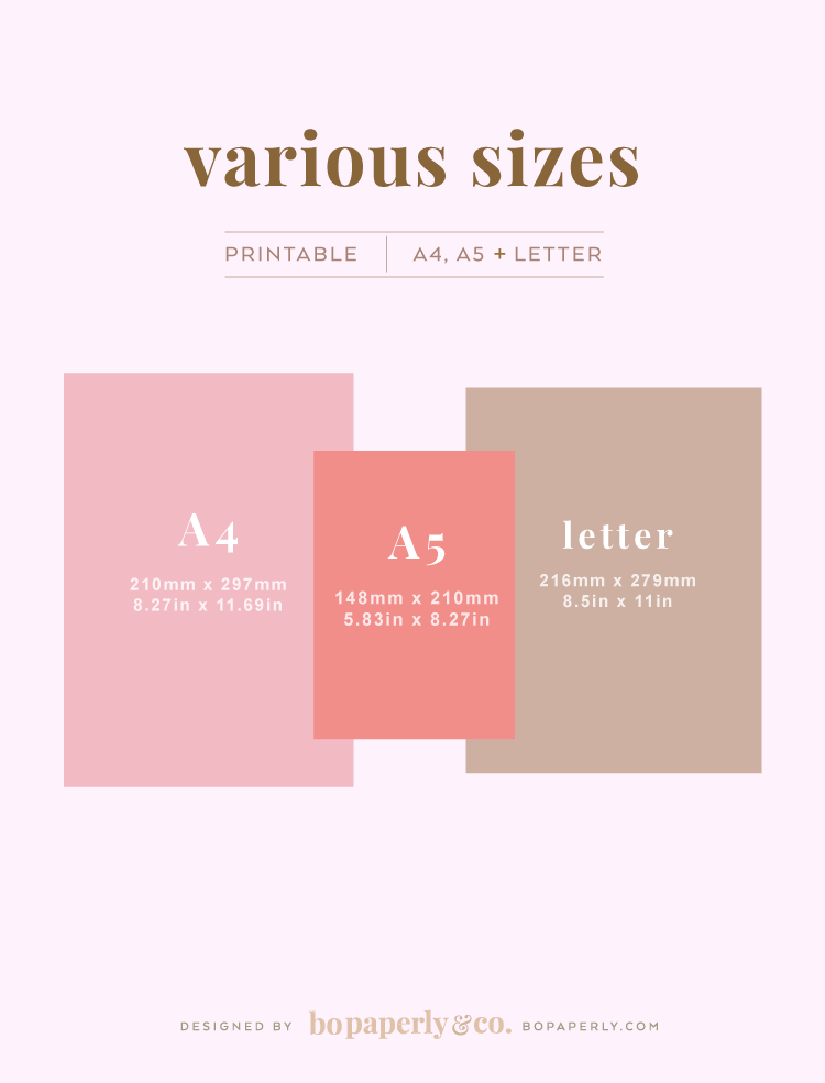 Planner Printable Sizes by Bo Paperly + Co. Studio
