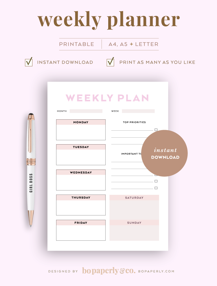 Weekly Planner | Planner Printables by Bo Paperly + Co. Studio